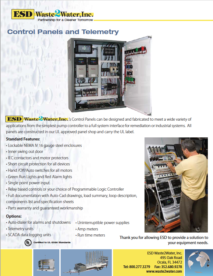 logging lights ul control panels and telemetry esd waste 2 water