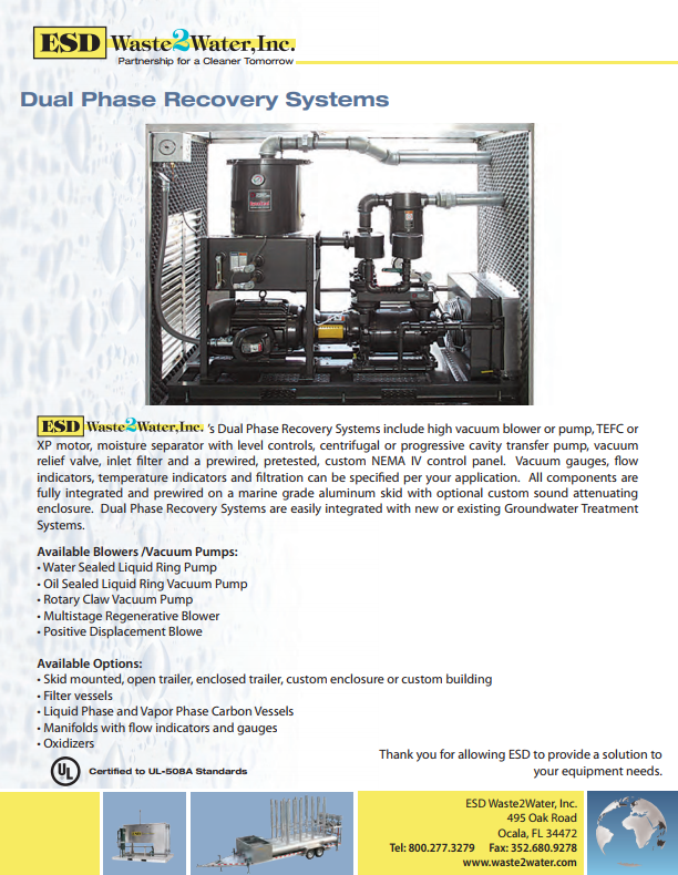 Dual Phase Recovery Systems   ESD Waste2Water